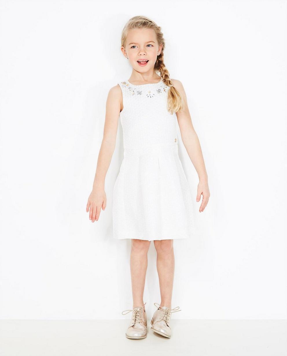 Cremeweißes Kleid - mit verziertem Hals - JBC